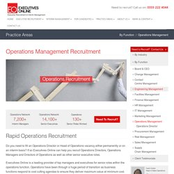Operations Management Recruitment - Operations Directors and Managers