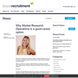 Why Market Research Operations is a good career option. » Boyce Recruitment