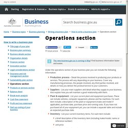 Operations section - Business plan