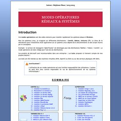 Modes opératoires Réseau & Systèmes