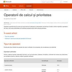 Operatorii de calcul și prioritatea - Excel