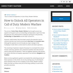 How to Unlock All Operators in Call of Duty: Modern Warfare – Directory Nation