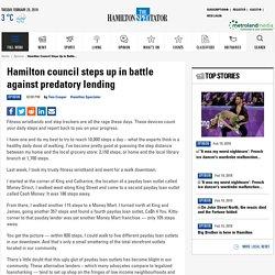 Hamilton council steps up in battle against predatory lending