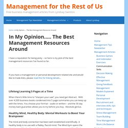 In My Opinion..... The Best Management Resources Around - Management for the Rest of Us