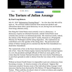 Opinion -The Torture of Julian Assange