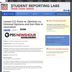 Lesson 2.3: Facts vs. Opinions vs. Informed Opinions and their Role in Journalism