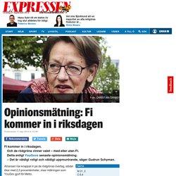 Opinionsmätning: Fi kommer in i riksdagen