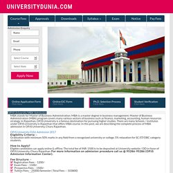 OPJS University MBA Admission - 2017-18