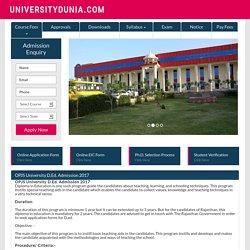 OPJS University D.Ed. Admission 2017 - 2017-18