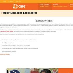 CARE Ecuador » Oportunidades Laborables