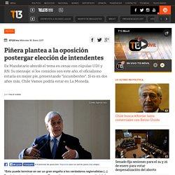 Piñera plantea a la oposición postergar elección de intendentes