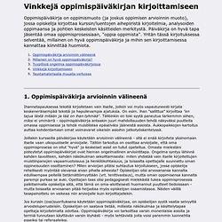 Vinkkejä oppimispäiväkirjan kirjoittamiseen - Sami Nikander