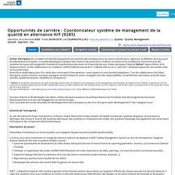 Opportunités de carrière : Coordonnateur système de management de la qualité en alternance H/F (9285)