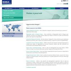 Opportunités d'emploi - HORUS Development Finance