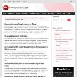 Opportunités dans l'enseignement en Suisse