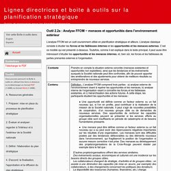 Outil 2.2a : Analyse FFOM − menaces et opportunités dans l'environnement extérieur