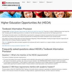 Higher Education Opportunities Act (HEOA)