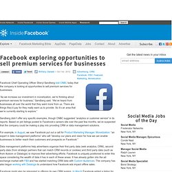 Facebook exploring opportunities to sell premium services for businesses
