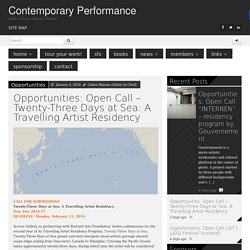Opportunities: Open Call – Twenty-Three Days at Sea: A Travelling Artist Residency