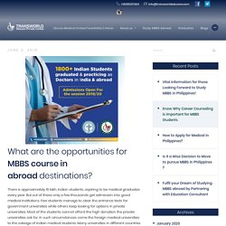 What are the opportunities for MBBS course in abroad destinations?