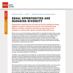 Equal opportunities and managing diversity