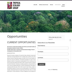 Opportunities – British Ecological Society – Tropical Ecology Group Special Interest Group
