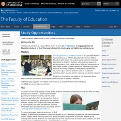 Study Opportunities : Faculty of Education
