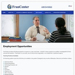 Employment opportunities at FranCenter, Darien IL