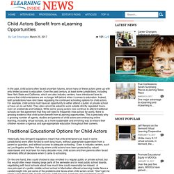Child Actors Benefit from eLearning Opportunities