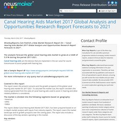 Canal Hearing Aids Market 2017 Global Analysis and Opportunities Research Report Forecasts to 2021