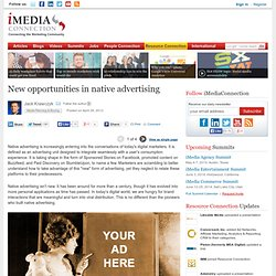 New opportunities in native advertising