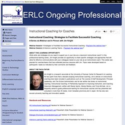 ERLC Ongoing Professional Learning Opportunities - Instructional Coaching for Coaches