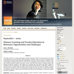 Distance Learning and Teacher Education in Botswana: Opportunities and Challenges