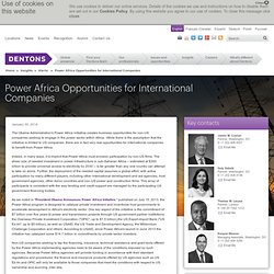 Power Africa Opportunities for International Companies