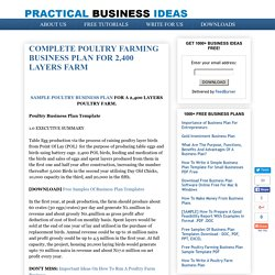 COMPLETE POULTRY FARMING BUSINESS PLAN FOR 2,400 LAYERS FARM - Practical Business Ideas - Best Small Scale Business Opportunities And Investment For 2016