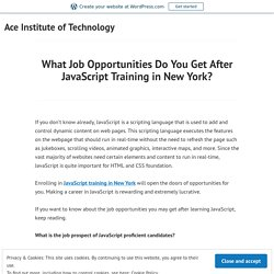 What Job Opportunities Do You Get After JavaScript Training in New York? – Ace Institute of Technology