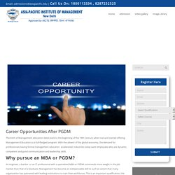 Best Career Opportunities After PGDM From Asia Pacific Institute of Management