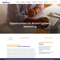 Opportunities for Ai & Content Marketing
