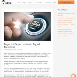 Major Job Opportunities In Digital Marketing