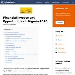 Financial Investment Opportunities In Nigeria 2020 - Missybanker