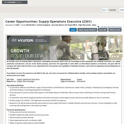 Career Opportunities: Supply Operations Executive (2301)