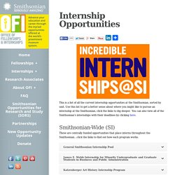 Smithsonian Fellowships and Internships