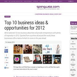 Top 10 business ideas & opportunities for 2012