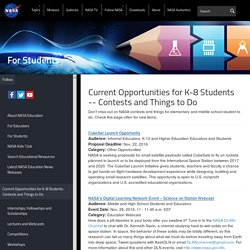 Current Opportunities for K-8 Students