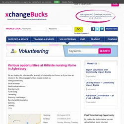 Various opportunities at Hillside nursing Home in Aylesbury - xchangeBucks