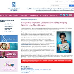 Women's Opportunity Awards | Educational Grants Women | Soroptimist