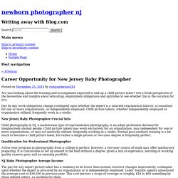 Career Opportunity for New Jersey Baby Photographer