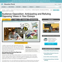 Audience Opposition: Anticipating and Refuting Opposing Views in Your Essays