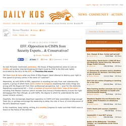 EFF: Opposition to CISPA from Security Experts... & Conservatives!