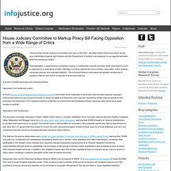 House Judiciary Committee to Markup Piracy Bill Facing Opposition from a Wide Range of Critics